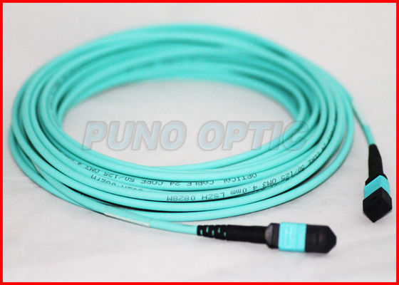 12 Cores 3.0mm MTP Fiber Optic Cable، Multimode OM3 Trunk Aqua Round Cable